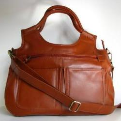 Leather Handbag Satchel Tote Btrown
